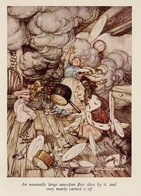 Duchess in Kitchen, Antique Rackham Print, Alice in Wonderland