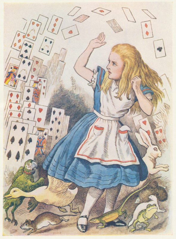 Playing Cards Collapsing Antique Print From Alice In