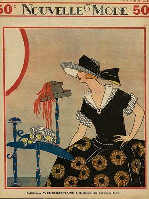 Art Deco Hat 02 Vintage Magazine Cover Nouvelle Mode