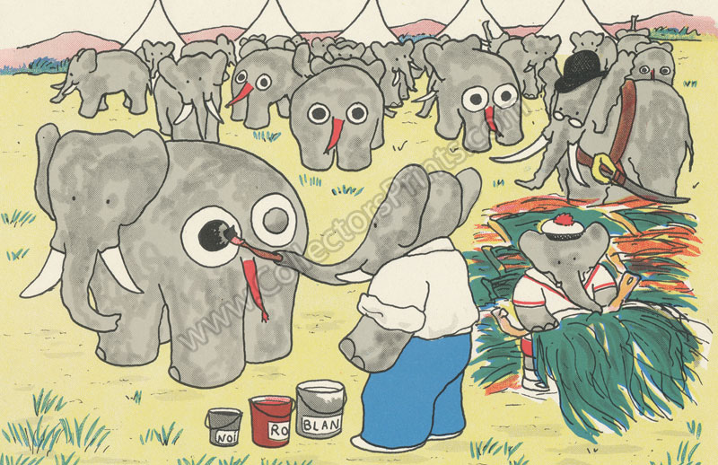 Babar Painting Faces On The Elephants Antique Print