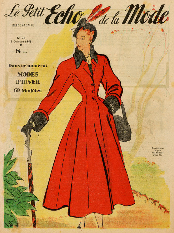 1940s Fashions In Red White Blue With Images: Vintage Fashion Print Of Lady In Long Red Coat With
