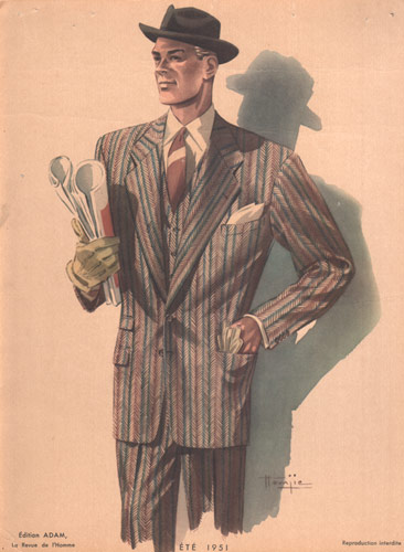 Man in Hat, 1950s Fashion Print