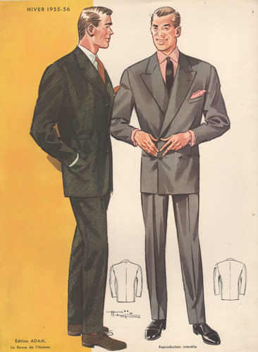 1950s Fashion Print Men In Suits