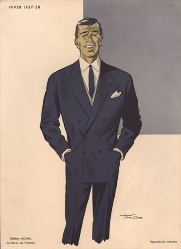 Man in Blue Suit, Vintage Fashion Print