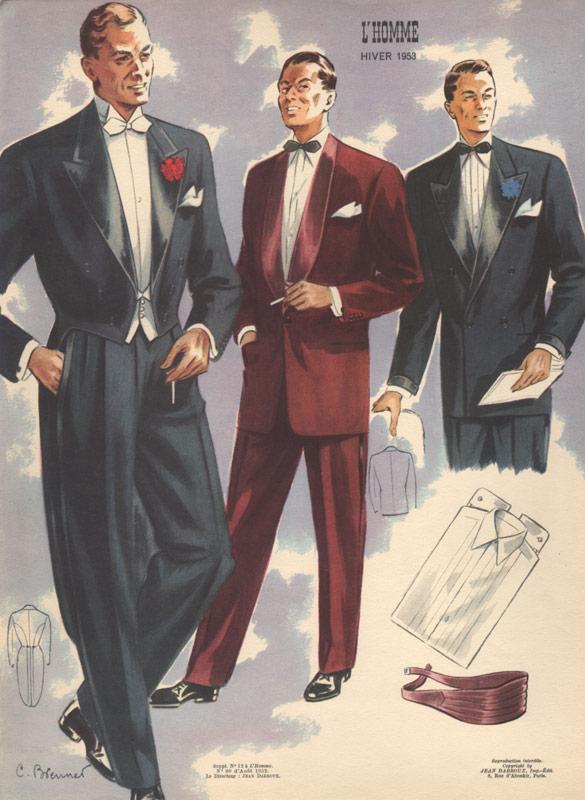 mens formal fashion vintage print 1953 white and black tie