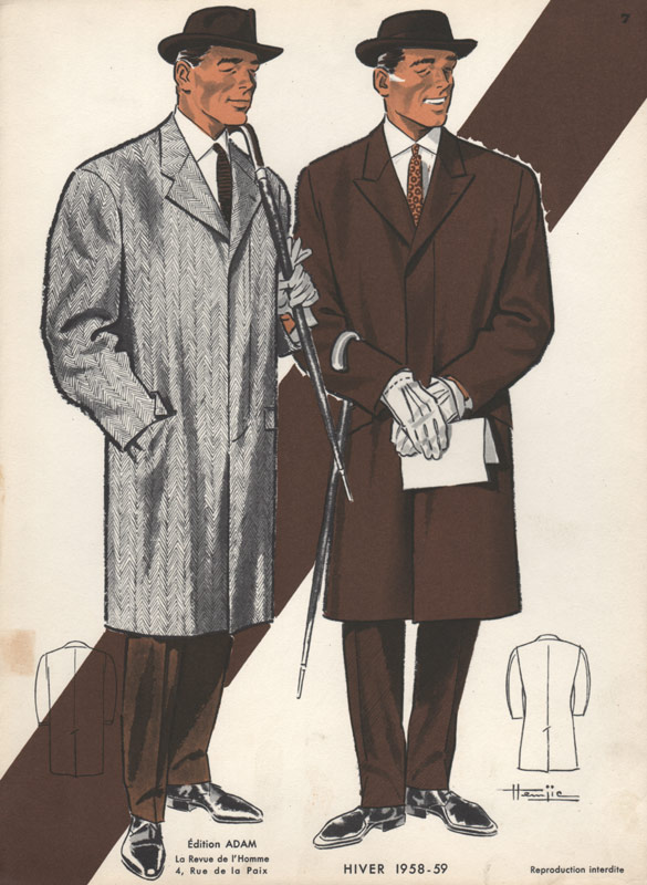 Vintage Fashion Print 1950s Men In Hats