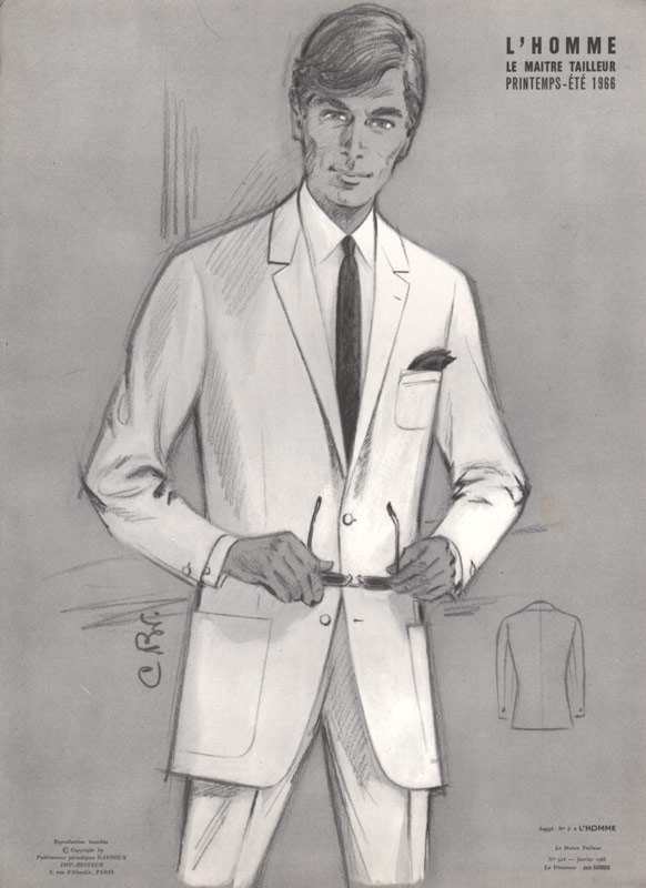 Vintage 1960s Fashion Print Man In White Suit
