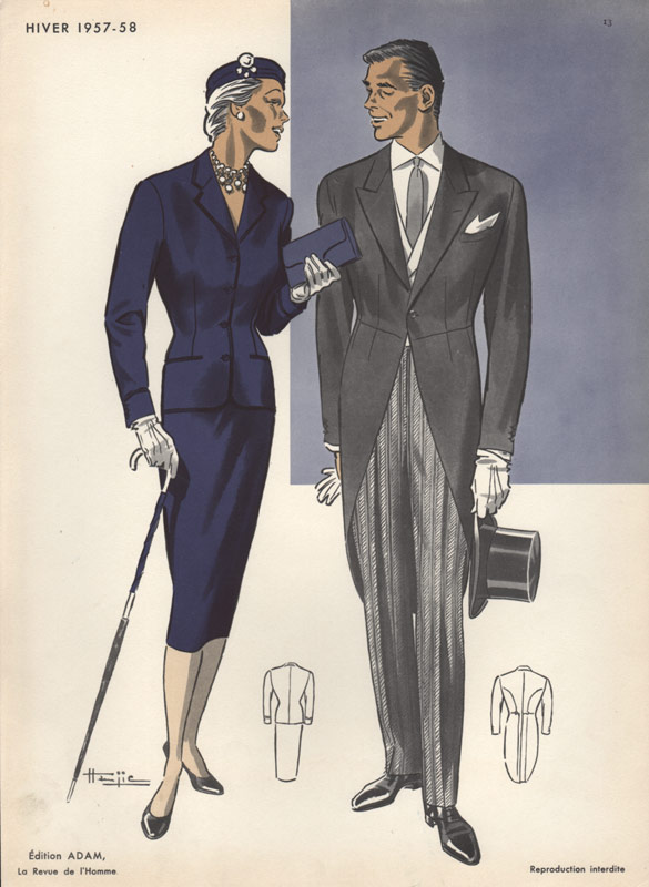 Morning Suit Vintage Print 1950s