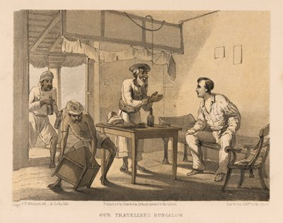 Traveller's Bungalow in India, Antique British Raj Lithograph