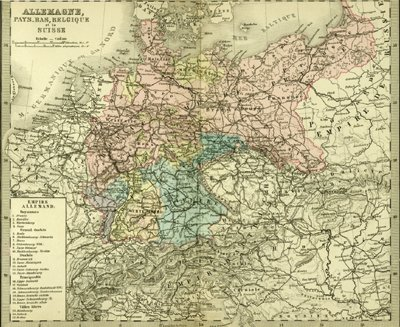 antique map of germany belgium and switzerland engraving with hand color circa 1870