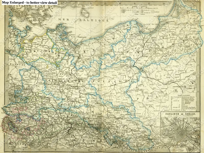 antique map of north east germany