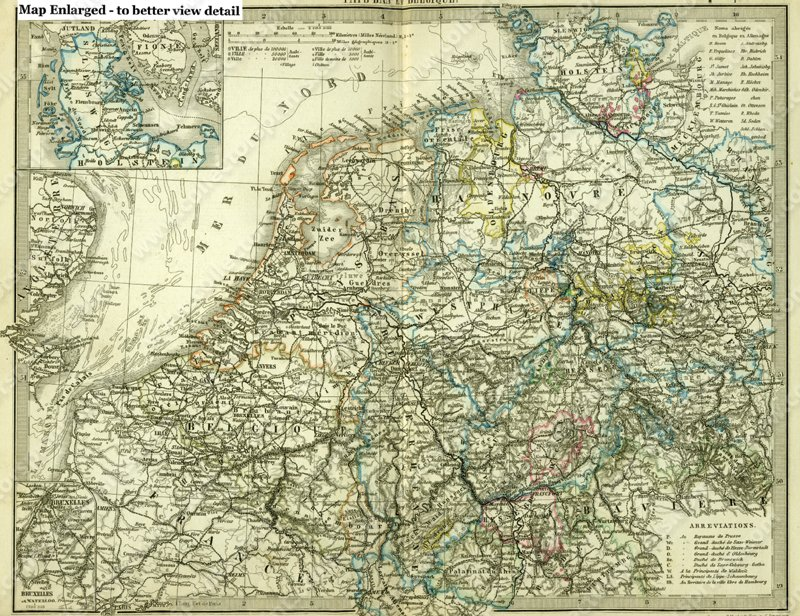 Antique Map of North West Germany Engraving with hand color circa 1870
