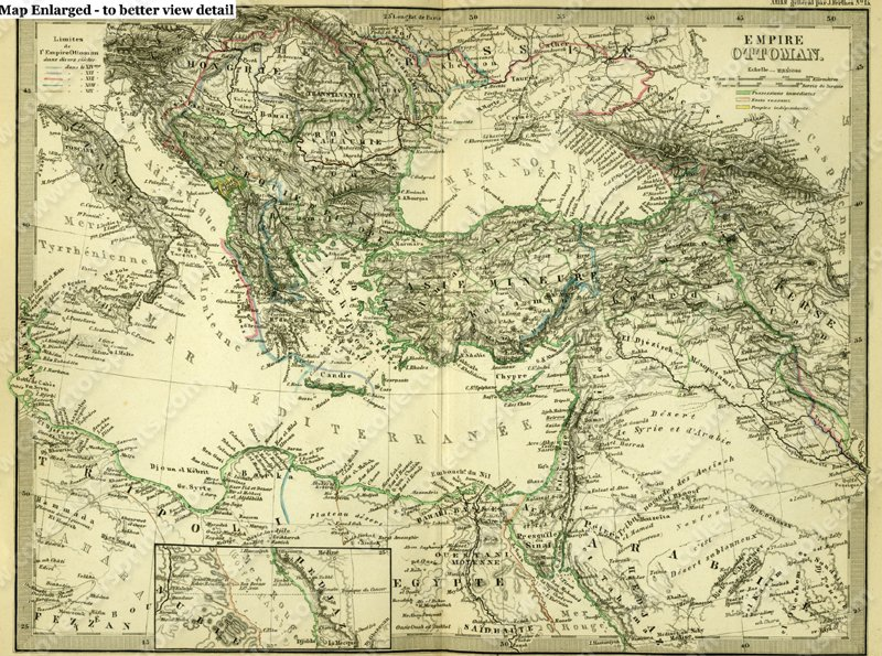 Antique Map Of The Ottoman Empire Engraving With Hand Color Circa