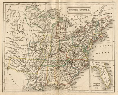 Antique Map Of The United States Circa - Map of the us in 1840