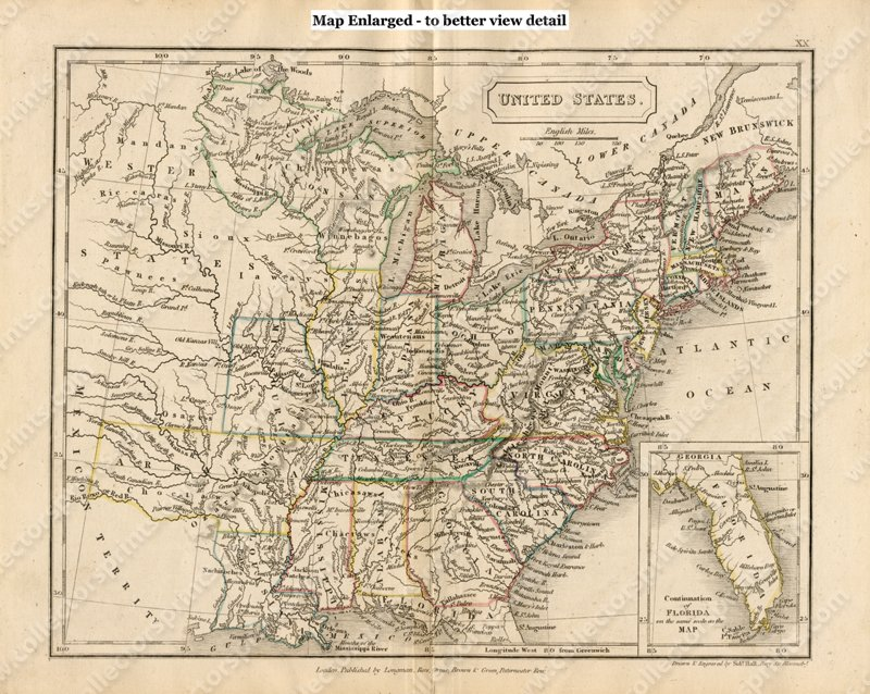 Antique Map Of The United States