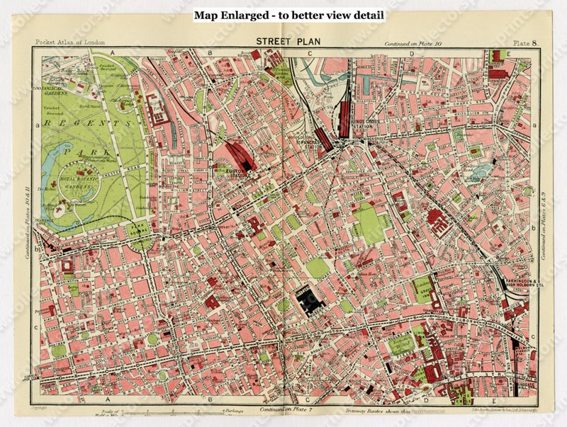 Street Map London West End.Antique Map Bloomsbury Regents Park And The West End London