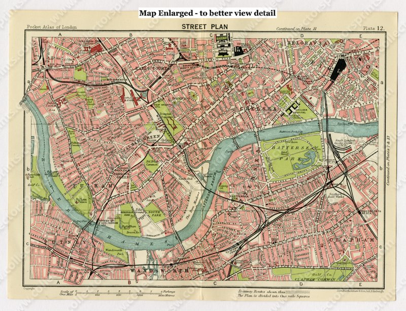 Antique Map Of Chelsea Belgravia And Fulham London 1920 S