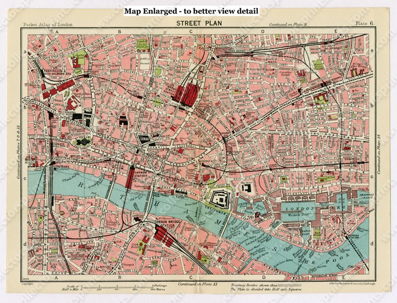 Antique Map The City And Whitechapel London 1920's: Whitechapel London Map At Infoasik.co