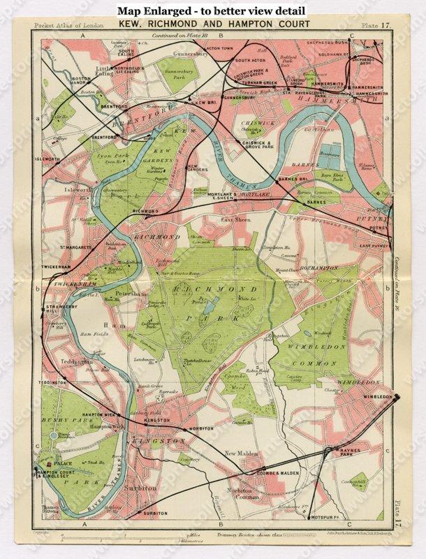 Richmond London Map.Antique Map Kew Richmond And Hampton Court London 1920 S