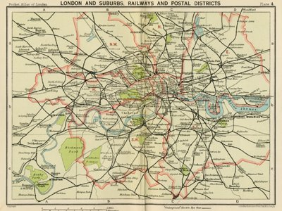 Map Of London And Surrounding Suburbs.Antique Map London And Suburbs London 1920 S