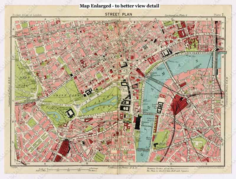 Street Map London West End.Antique Map Westminster West End And Belgravia London 1920 S