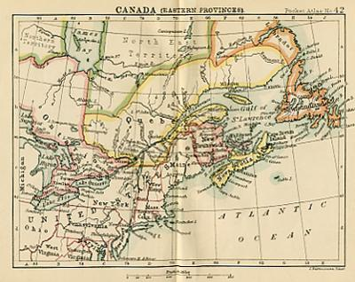 Map Of Canada Eastern Provinces.Antique Map Of Canada Eastern Provinces Miniature Map Circa 1887
