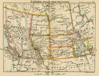 Antique Map Of Canada North West Provinces Miniature Map Circa - Old map of canada
