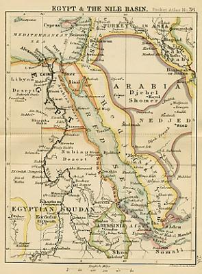 Antique Map Of Egypt Miniature Map Circa - Vintage map of egypt