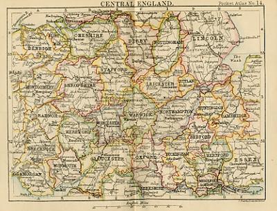 Antique Map Of Central England Miniature Map Circa 1887