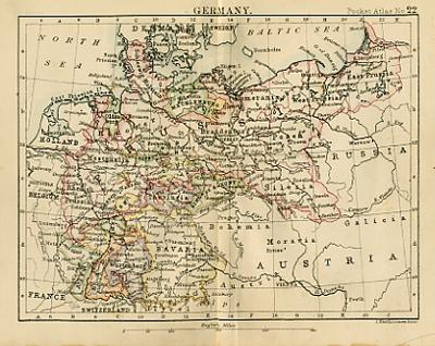 Map Of Old Germany.Antique Map Of Germany Miniature Map Circa 1887