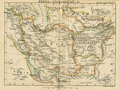 Persia antique prints and maps of persian interest antique map of persia miniature map circa 1887 gumiabroncs Images