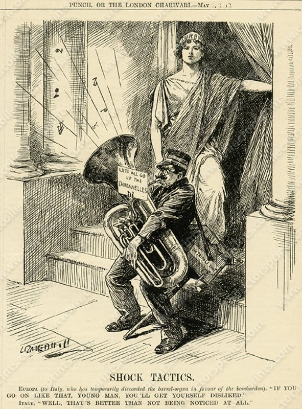 Tuba Playe, Antique Cartoon from Punch, circa 1912