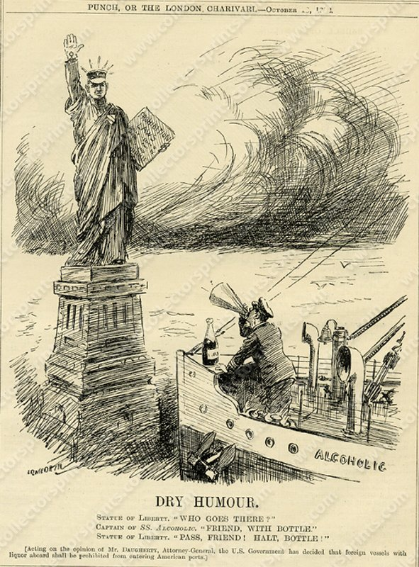 Vintage Cartoon Of America At Time Of Prohibition Circa 1920s