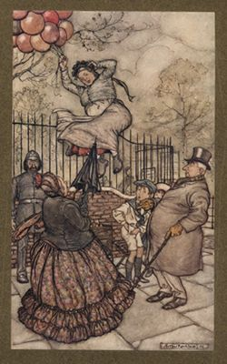 The Balloon Lady is Pulled into the Air, Antique Print by Rackham